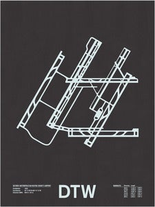 Image of DTW: Detroit Metropolitan Wayne County Airport Screenprint