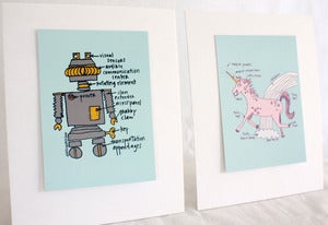 Image of Awesome Robot + Unicorn Prints