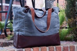Image of Charcoal Waxed Canvas Work Bag