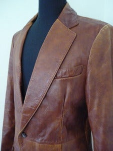 Image of soft brown leather sport coat