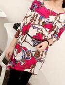 Image of Chain Scarf Print Fuchsia Top/Dress