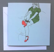 Image of 'Kath ties shoes' Greetings card