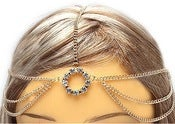 Image of Multi-chain Circle Rhinestone Head Chain (Gold, Silver)