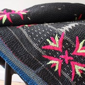 Image of Vintage Indian Kantha Bedspread - Black