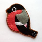 Image of Bullfinch, Felt Bird Brooch