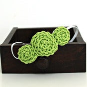 Image of Three Rosette headband in Spring Green