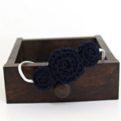 Image of Three Rosette headband in Midnight Blue