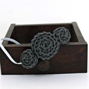 Image of Three Rosette headband in Steel Grey