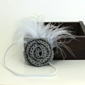 Image of Rose Feathered Elastic Headband in Light Steel Grey