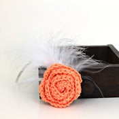 Image of Rose Feathered Elastic Headband in Cantaloupe