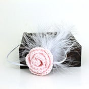 Image of Rose Feathered Elastic Headband in Pale Pink