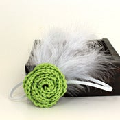 Image of Rose Feathered Elastic Headband in Spring Green