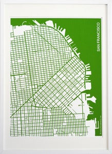 Image of Green Silk-Screen Printed Map of San Francisco