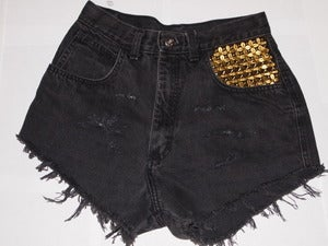 Image of Distressed Black High Waisted Shorts With Studded Pocket
