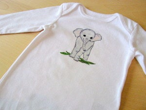 Image of Sweet Baby Elephant, One Piece Bodysuit, LONG Sleeve, Baby Girl or Boy, Nursery