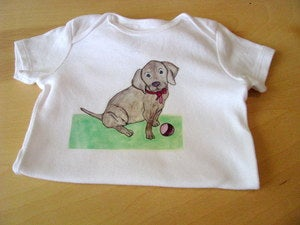 Image of Puppy with Ball by Purple Snapdragons. One Piece Bodysuit for Baby Boy or Girl 