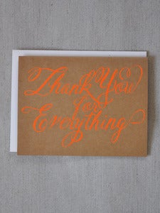 Image of Neon Orange Thank You for Everything Card