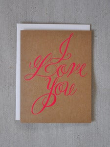 Image of Neon Pink I Love You Card
