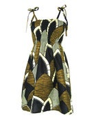 Image of Fair Trade Print Ruched Sun Dress Khaki
