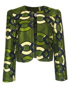 Image of Fair Trade African Print Round Neck Jacket Khaki