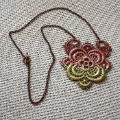 Image of Rose Gold &amp; Gold Lace Medallion - Hand-Painted Vintage Lace Necklace