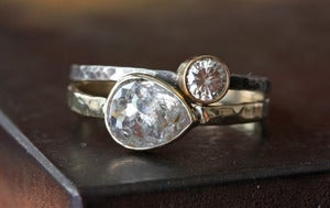 Image of Silver-Clear Rose Cut Diamond RIng in 14kt Gold 