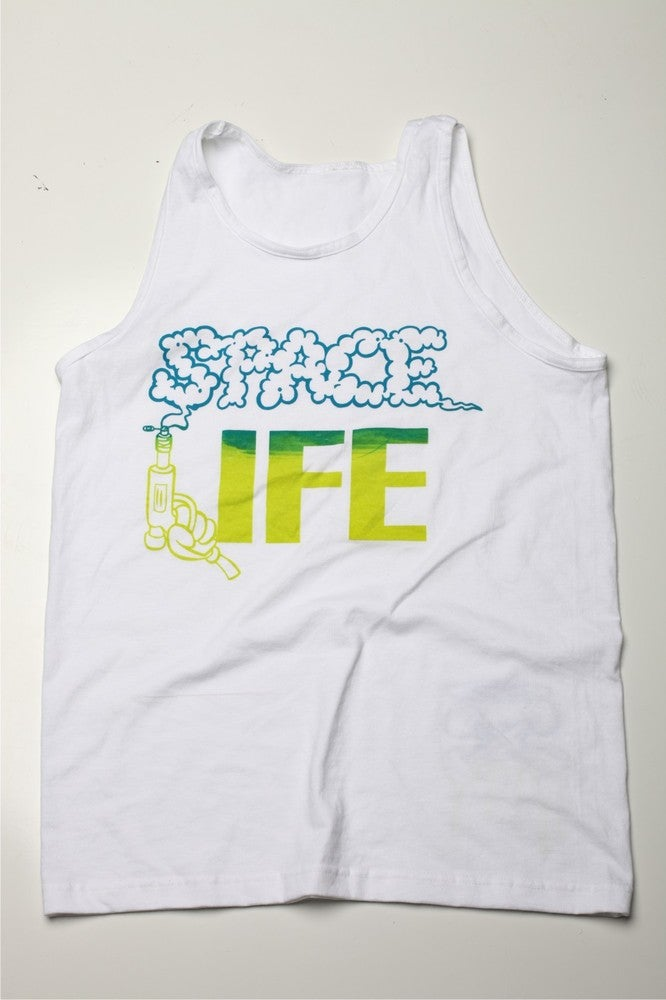 Image of Space Life White Tank (Neon Green/Peacock Blue)
