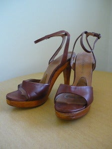 Image of 70s leather & wood platform sandals