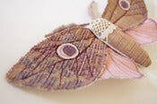 Image of Upholstery Fabric Moth Pink with Vintage Lace