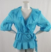 Image of Ralph Lauren Ruffle Wrap Top XL