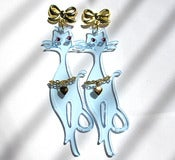 Image of Neon Sassy Cat earrings Pale Blue