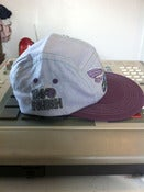 "Image of Grey and Purple ""So Fly"" 5 Panel Snapback Hat"