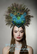 "Image of ""Emerald Countess"" Peacock Feather Glitter Celeb Headdress Fascinator Unusual Millinery UK"
