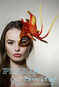 "Image of ""Outré"" Orange Crystal Lobster Glitter Half Mask Celeb Fascinator Outlandish Milliner UK"