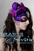 "Image of ""Parfait d'Amour"" Purple Rose Orchid Glitter Half Mask Fascinator Elegant Prom Headdress"