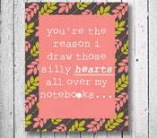 "Image of Typography Art Print: ""you're the reason"" Quote Poster"