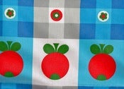 Image of Funky 1970s Blue Gingham Tomato Kitchen Fabric