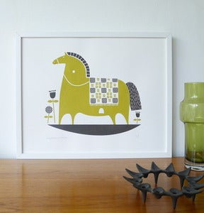 Image of NEW rocking horse print in olive