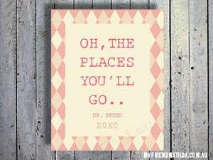 "Image of Typography Art Print: Girl ""oh the places you'll go"" Dr Zeuss Quote Poster"