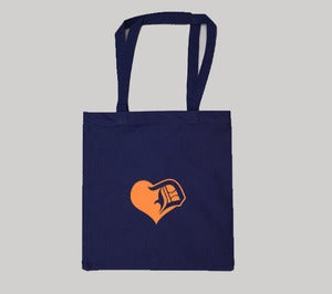 Image of Orange Detroit Love Canvas Tote Bag