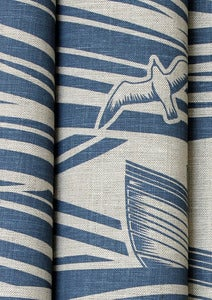 Image of Whitby Linen Fabric - Washed Denim