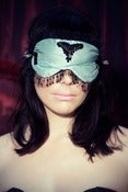 "Image of Teal ""Burlesque Burlesque"" silk sleep mask with Swarovski"
