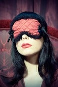 Image of 'La Madeleine' Couture sleep mask in quilted red silk and black silk tulle