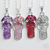 Image of Crystal Flip Flop Necklace