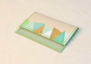 Image of Green/Blue/Gold Color Painted (Triangle Pattern) Name Card Holder