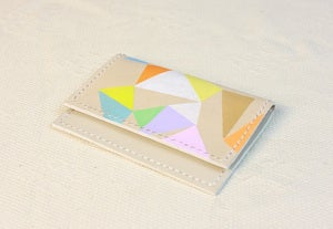 Image of Multi Color Painted (Triangle Pattern) Name Card Holder