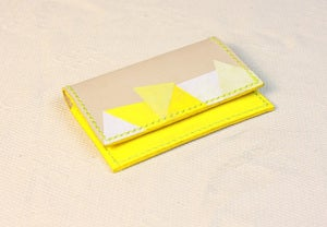 Image of Yellow Painted (Triangle Pattern) Name Card Holder
