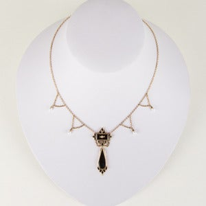 Image of Victorian 14k Gold, Pearl and Onyx Festoon Necklace