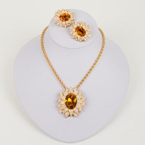 Image of Christian Dior Sunflower Necklace/Brooch and Matching Earrings