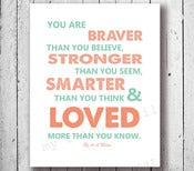 Image of CUSTOM:You are Stronger than you A A Milne Childrens Babies Quote Poster Print